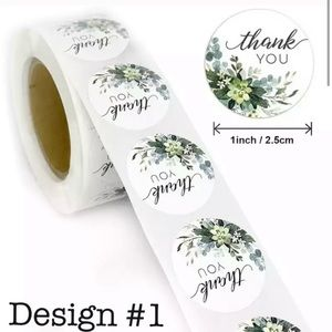 Bundle of 2 x 500 ct Floral Thank You Stickers
